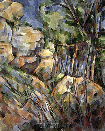 Rocks near the Caves below the Chateau Noir, c.1904 | Cezanne | Gemälde Reproduktion