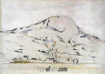 View of Mont Sainte Victoire - Study of a Tree, c.1885/87 | Cezanne | Painting Reproduction
