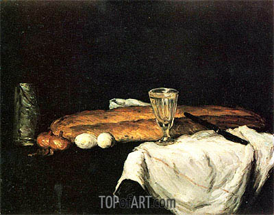 Still Life with Bread abd Eggs, 1865 | Cezanne | Painting Reproduction