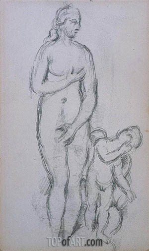 Antique Aphrodite and Eros, c.1885/90 | Cezanne | Painting Reproduction