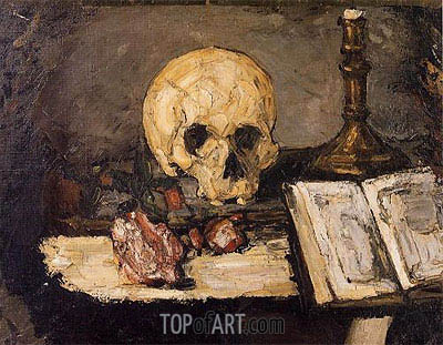 Skull and Candlestick, 1866 | Cezanne | Painting Reproduction