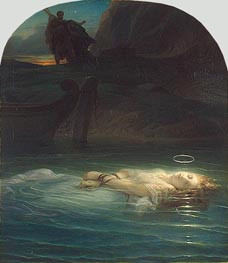 A Christian Martyr Drowned in the Tiber, 1853 von Paul Delaroche | Gemälde-Reproduktion