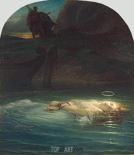 A Christian Martyr Drowned in the Tiber, 1853 | Paul Delaroche | Gemälde Reproduktion