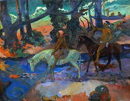 The Ford (Flight), 1901 by Gauguin | Painting Reproduction