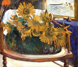 Still Life with Sunflowers on an Armchair | Gauguin | Painting Reproduction