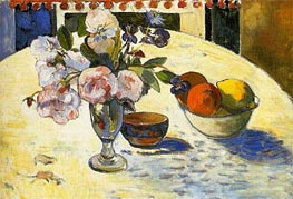 Flowers and a Bowl of Fruit | Gauguin | Gemälde Reproduktion