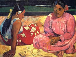 Two Woman on the Beach, 1891 by Gauguin | Painting Reproduction
