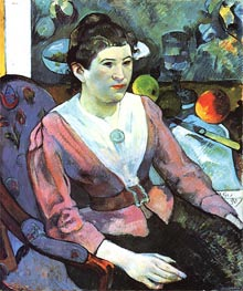 Portrait of a Woman with Cezanne Still Life, 1890 by Gauguin | Painting Reproduction