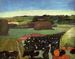 Haystacks in Brittany (The Potato Field), 1890 von Gauguin | Gemälde-Reproduktion