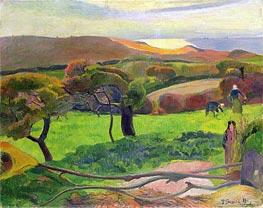 Breton Landscape - Fields by the Sea (Le Pouldu), 1889 by Gauguin | Painting Reproduction