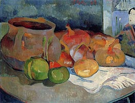 Still Life with Onions, Beetroot and a Print, 1889 by Gauguin | Painting Reproduction