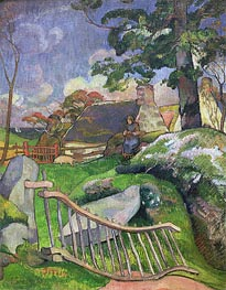 The Gate (The Swineherd), 1889 by Gauguin | Painting Reproduction