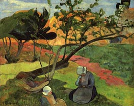 Little Girls (Landscape with Two Breton Girls), 1889 by Gauguin | Painting Reproduction