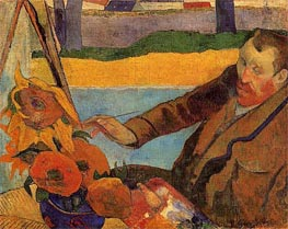 Portrait of Vincent van Gogh Painting Sunflowers, 1888 by Gauguin | Painting Reproduction