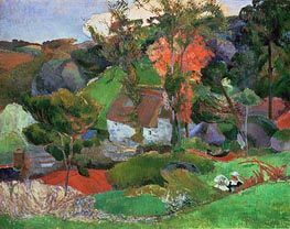 Landscape at Pont Aven, 1888 by Gauguin | Painting Reproduction