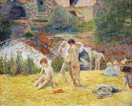 Boys from Britanny Bathing (Bath next to the mill in the Bois d'Amour), 1886 by Gauguin | Painting Reproduction