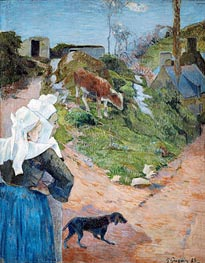 Women of Brittany and Calf, 1888 by Gauguin | Painting Reproduction