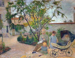 Garden in Vaugirard (The Artist's Family in the Garden in rue Carcel, Paris), 1881 by Gauguin | Painting Reproduction
