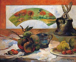 Still Life with Fruits and Fan, 1888 by Gauguin | Painting Reproduction