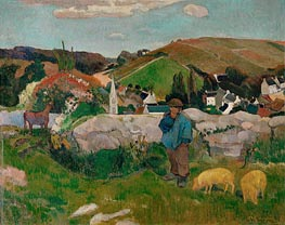 The Swineherd (Peasants with Pigs), 1888 by Gauguin | Painting Reproduction