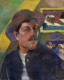 Self Portrait with Hat In the Background Manao Tupapau, c.1893/94 by Gauguin | Painting Reproduction