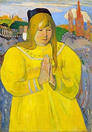 Breton Girl in Prayer, 1894 by Gauguin | Painting Reproduction