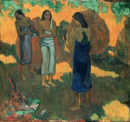 Three Tahitian Women Against a Yellow Background, 1899 by Gauguin | Painting Reproduction