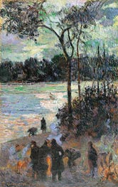 The Fire at the River Bank, 1886 by Gauguin | Painting Reproduction