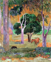 Dominican Landscape or, Landscape with a Pig and Horse, 1903 by Gauguin | Painting Reproduction