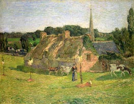 Lollichon's Field and the Church of Pont-Aven, 1886 by Gauguin | Painting Reproduction