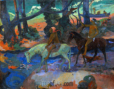The Ford (Flight), 1901 | Gauguin | Painting Reproduction