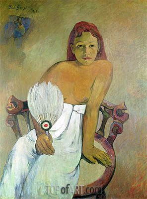 Girl with a Fan, 1902 | Gauguin| Painting Reproduction
