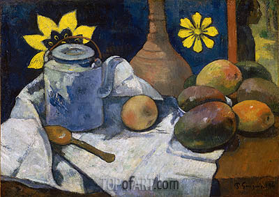 Still Life with Teapot and Fruit, 1896 | Gauguin| Gemälde Reproduktion