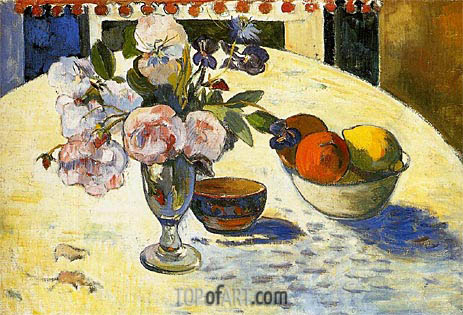 Flowers and a Bowl of Fruit, 1894 | Gauguin | Painting Reproduction