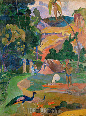 Matamoe (Landscape with Peacocks), 1892 | Gauguin | Painting Reproduction