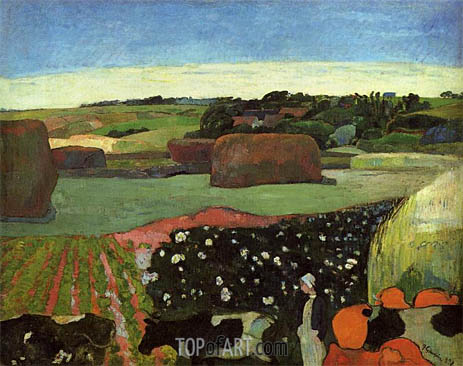 Haystacks in Brittany (The Potato Field), 1890 | Gauguin | Painting Reproduction