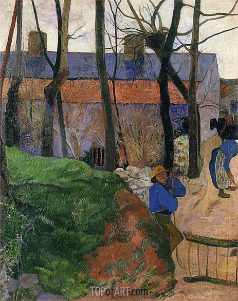 Houses in le Pouldu, 1890 | Gauguin | Gemälde Reproduktion