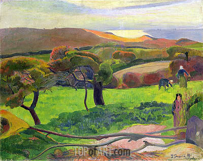 Breton Landscape - Fields by the Sea (Le Pouldu), 1889 | Gauguin| Painting Reproduction