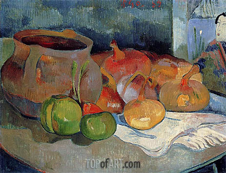 Still Life with Onions, Beetroot and a Print, 1889 | Gauguin | Gemälde Reproduktion