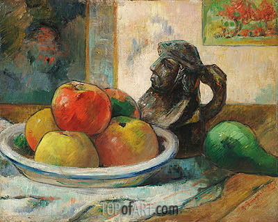 Still Life with Apples, Pear and Ceramic Jug, 1889 | Gauguin| Painting Reproduction