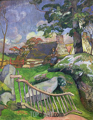 The Gate (The Swineherd), 1889 | Gauguin | Painting Reproduction
