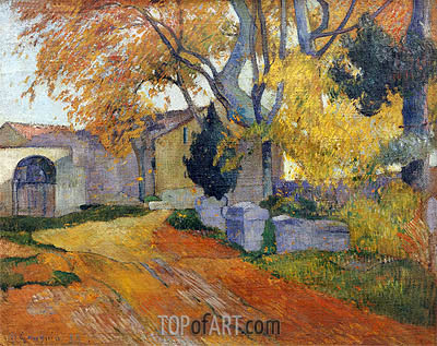 Lane at Alchamps, Arles, 1888 | Gauguin | Painting Reproduction