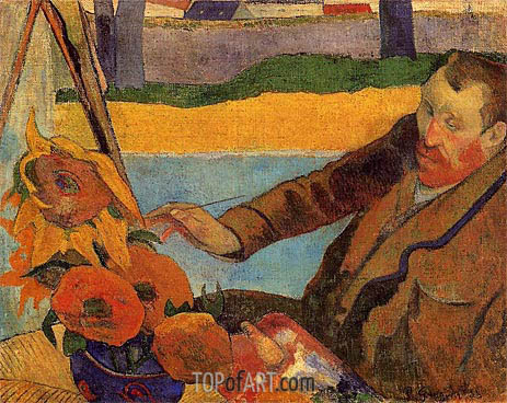 Portrait of Vincent van Gogh Painting Sunflowers, 1888 | Gauguin | Gemälde Reproduktion