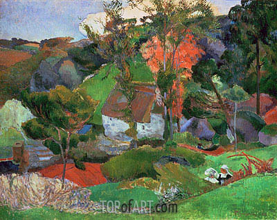 Landscape at Pont Aven, 1888 | Gauguin| Painting Reproduction