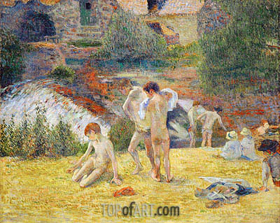 Boys from Britanny Bathing (Bath next to the mill in the Bois d'Amour), 1886 | Gauguin| Gemälde Reproduktion