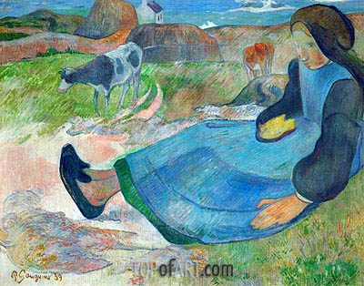 The Cowherd (Young Woman from Brittany), 1889 | Gauguin | Painting Reproduction