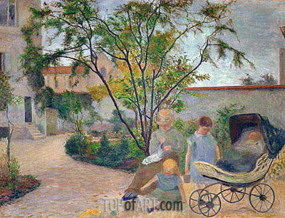 Garden in Vaugirard (The Artist's Family in the Garden in rue Carcel, Paris), 1881 | Gauguin | Painting Reproduction