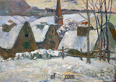 Village in Brittany in the Snow, 1894 | Gauguin | Gemälde Reproduktion