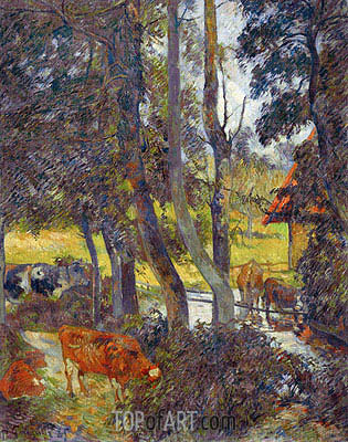 Landscape in Normandy with Pond, 1885 | Gauguin| Painting Reproduction