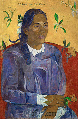 Vahine no te tiare (Tahitan Woman with Flower), 1891 | Gauguin| Painting Reproduction